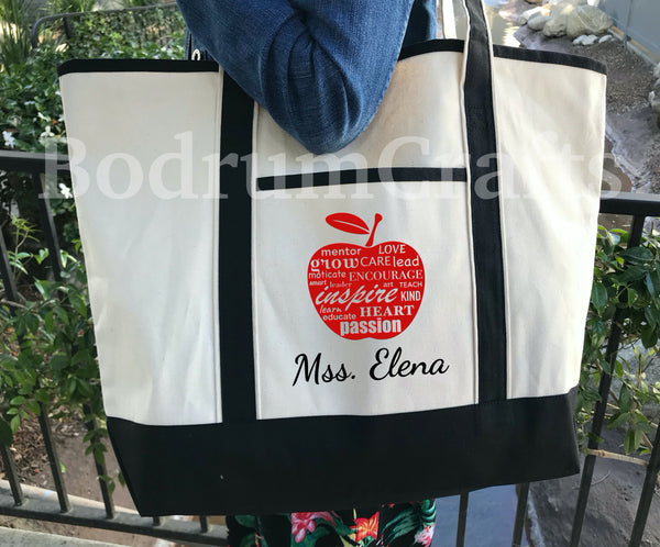 Teacher Canvas Tote Bags, Personalized Custom Teacher Totes, Teacher Gift, Book Bag, Best Teacher Ever large size