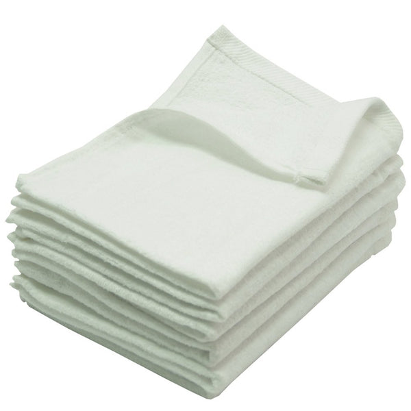 12 Pack Terry Velour Fingertip Towels, White Color
