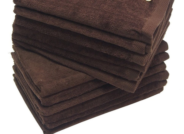 12 Pack Terry Velour Fingertip Towels, Brown Color