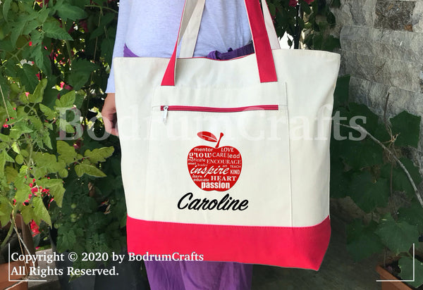 Teacher Canvas Tote Bags, Personalized Custom Teacher Totes