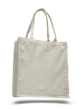 Grocery Shopper Canvas Tote Bags with Bottom Gusset, Large Size