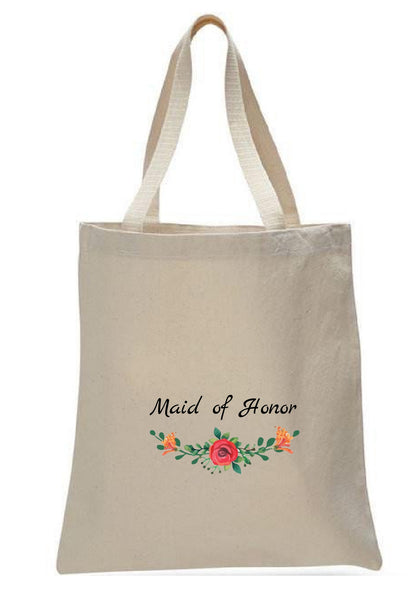 Wedding Canvas Gift Tote Bags, Party Gifts, Maid of Honor, WB49