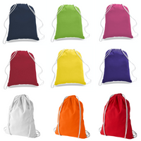 wholesale 12 Pack Economy Cotton Drawstring Backpacks DB02, Assorted Mix Color