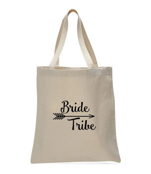 Personalized Wedding Canvas Gift Tote Bags, Bride Tribe, WB28