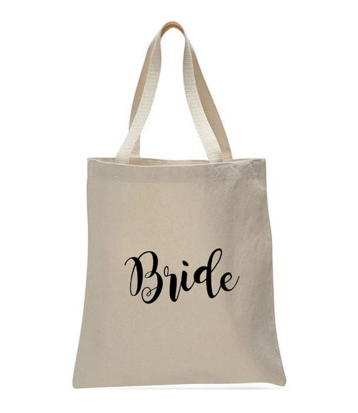 Personalized Wedding Canvas Gift Tote Bags, Bride, WB29
