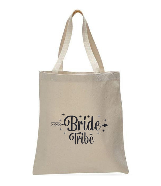 Personalized Wedding Canvas Gift Tote Bags, Bride Tribe, WB31