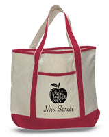 Personalized Teacher Tote Bags, Cute Teachers Gifts, Extra Large Canvas Totes TH100