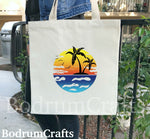 Palm Tree Island Canvas Tote Bags, Ocean Sea Design, Custom Gifts Totes for Women, Beautiful Tropical, Beach, Destination Wedding