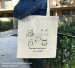 Cat Tote Bags, Canvas Tote Bag, Cat Themed Tote Bags, Art Design, Cat Quotes, Black Cats, Cat Lovers Gift, Cool Cat Animal Printed Totes