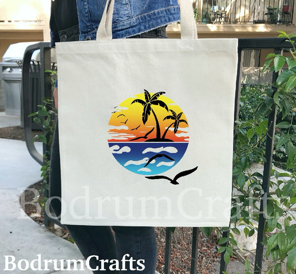 Personalized Bridal Tote Bags, Bridesmaid Gifts, Wedding, Custom Canvas Tote Bag, Bridal Party, Destination Wedding Totes, Palm Tree, Beach