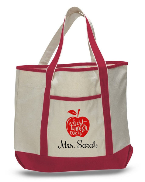 Personalized Teacher Tote Bags, Cute Teachers Gifts, Extra Large Canvas Totes TH102