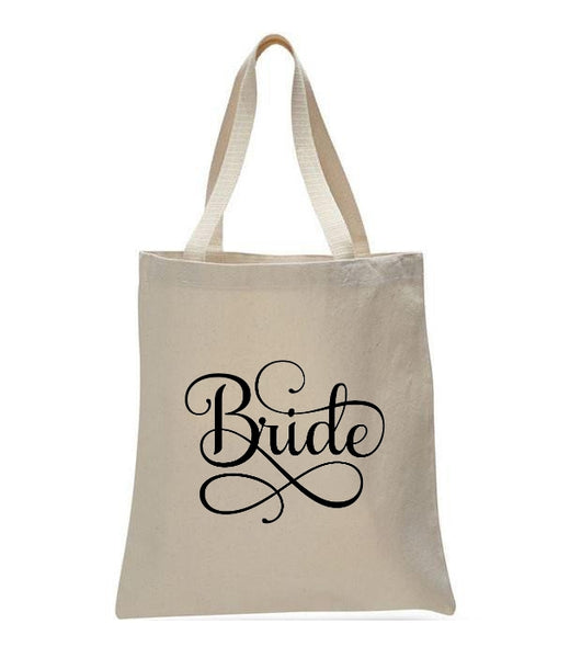 Personalized Wedding Canvas Gift Tote Bags, Bride, WB22