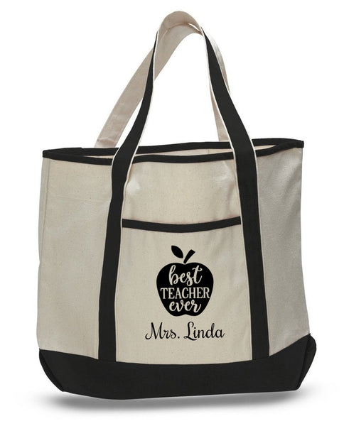 Personalized Teacher Tote Bags, Cute Teachers Gifts, Extra Large Canvas Totes TH103