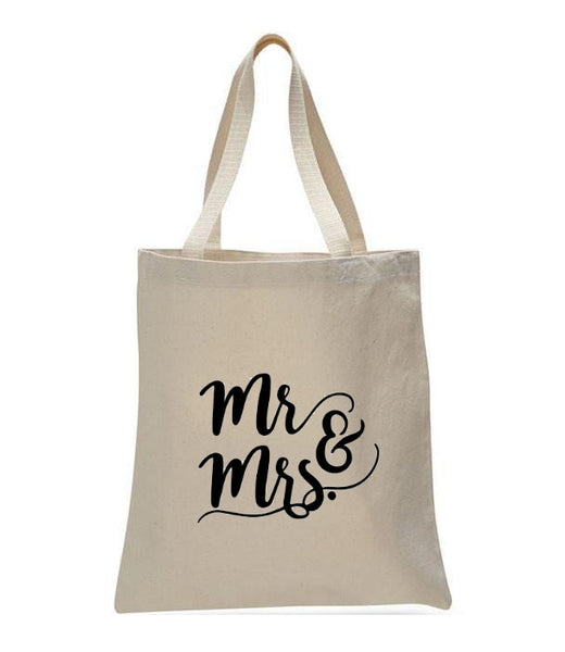 Personalized Wedding Canvas Gift Tote Bags, Mrs & Mr, WB23