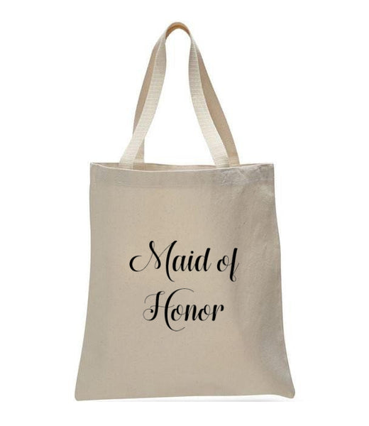 Personalized Wedding Canvas Gift Tote Bags, Maid of Honor, WB24