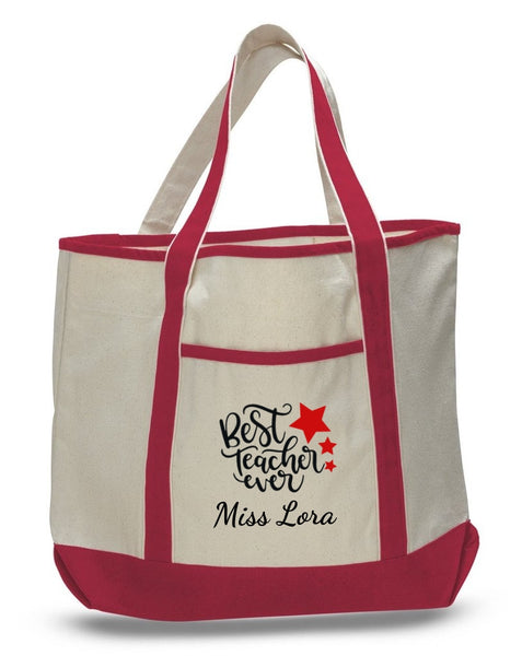 Personalized Teacher Tote Bags, Cute Teachers Gifts, Extra Large Canvas Totes TH105