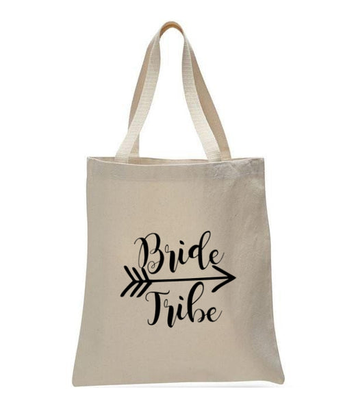 Personalized Wedding Canvas Gift Tote Bags, Bride Tribe, WB25