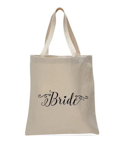 Personalized Wedding Canvas Gift Tote Bags, Bride, WB26