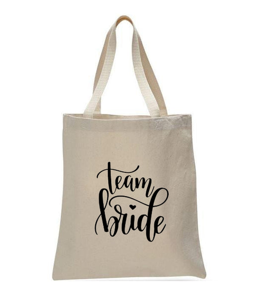 Personalized Wedding Canvas Gift Tote Bags, Team Bride, WB27
