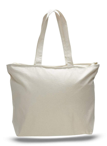 "Heavy Duty Canvas Large Reusable Bags, Top Zippered with Zipper Inside Pocket TB23 (20"" x 15"" x 5"")"