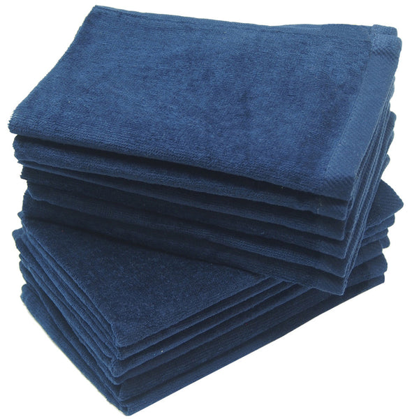 12 Pack Terry Velour Fingertip Towels, Navy Color