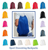 (12 Pack) Wholesale Economy Cotton Drawstring Backpacks, Reusable Sports Bags  DB12