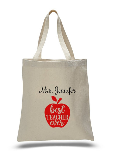 Personalized Teacher Tote Bags, Graduation Teachers Gifts, Canvas Totes TB115