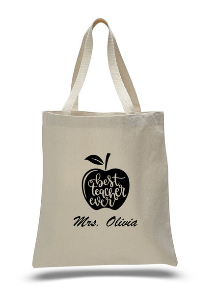 Personalized Teacher Tote Bags, Graduation Teachers Gifts, Canvas Totes TB113