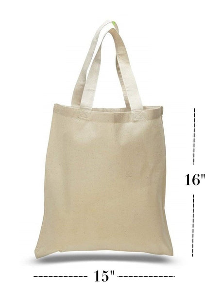 "Set of 6 Natural Cotton Tote Bags, Flat, TB01 (15"" x 16"")"