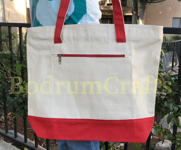 Deluxe Sturdy Canvas Tote Bags with Zipper