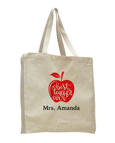 Personalized Teacher Tote Bags, Teachers Gifts, Large Canvas Book Bag TF101