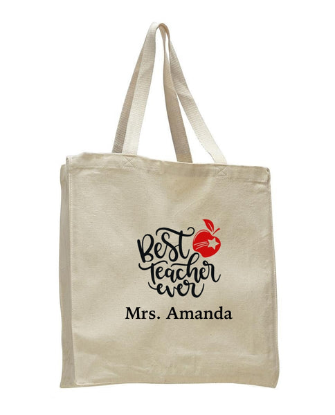Personalized Teacher Tote Bags, Teachers Gifts, Large Canvas Book Bag TF102