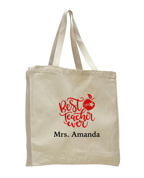 Personalized Teacher Tote Bags, Teachers Gifts, Large Canvas Book Bag TF103