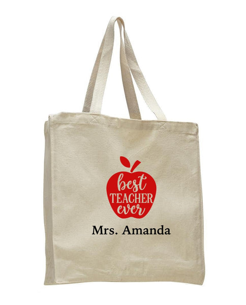 Personalized Teacher Tote Bags, Teachers Gifts, Large Canvas Book Bag TF105