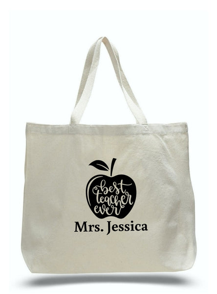 Personalized Teacher Tote Bags, Teachers Gifts, Large Canvas Totes TD100