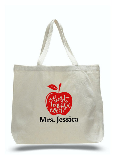 Personalized Teacher Tote Bags, Teachers Gifts, Large Canvas Totes TD101