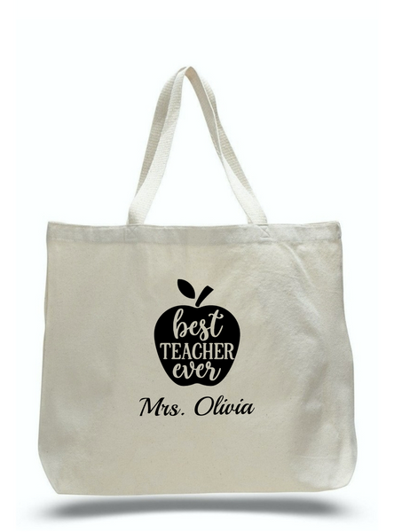 Personalized Teacher Tote Bags, Teachers Gifts, Large Canvas Totes TD103
