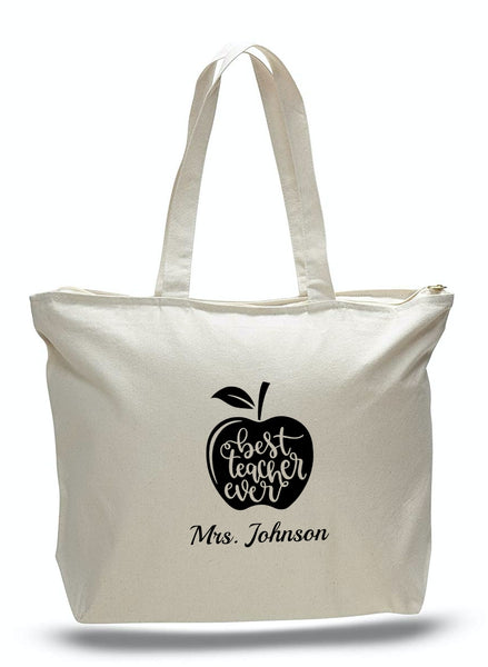 Personalized Teacher Tote Bags, Graduation Teachers Gifts, Canvas Totes TG101
