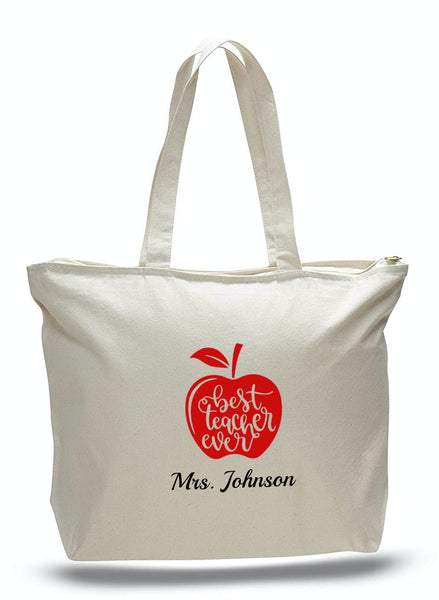 Personalized Teacher Tote Bags, Graduation Teachers Gifts, Canvas Totes TE101