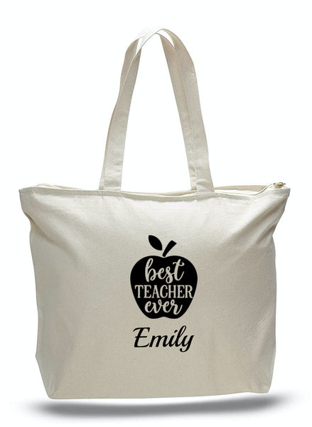 Personalized Teacher Tote Bags with Zipper, Teachers Gifts, Large Canvas Totes TE104