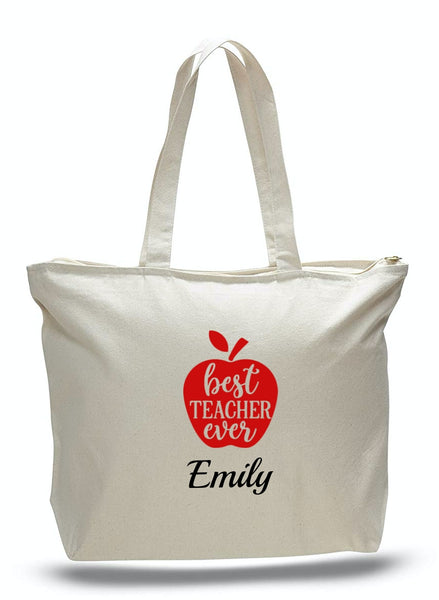 Personalized Teacher Tote Bags with Zipper, Teachers Gifts, Large Canvas Totes TE105
