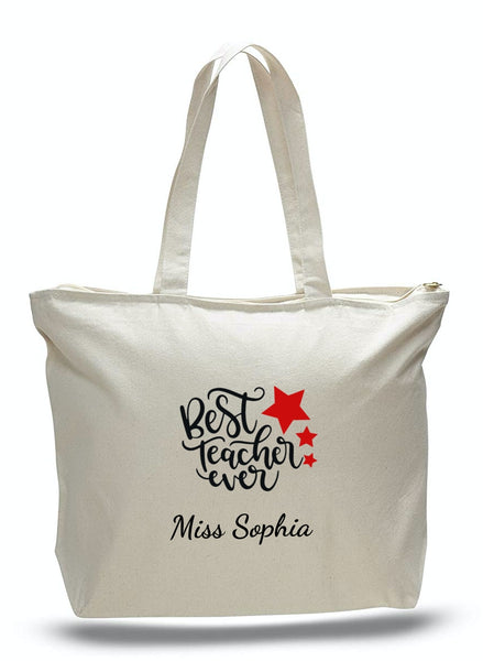 Personalized Teacher Tote Bags with Zipper, Teachers Gifts, Large Canvas Totes TE106