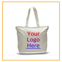 Custom Tote Bags with Logo, Personalized Canvas Totes with Name, Large Size, Your Photo Printing, Promotional Tote, Top Zippered, Bag Bulk BodrumCrafts