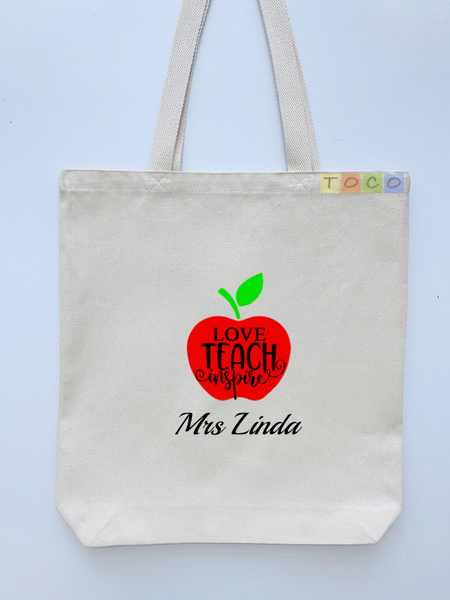 Personalized Teacher Tote Bags, Graduation Teachers Gifts, Canvas Totes TB111