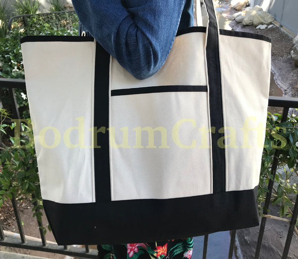 Large Size Deluxe Heavy Duty Canvas Leisure Shoulder Tote Bags Wholesale Bulk
