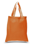12 Pack Wholesale Orange Color, 100% Cotton Carry Tote Bags in Bulk