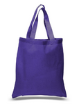 "12 Pack Wholesale Purple Color, 100% Cotton Carry Tote Bags in Bulk (15"" x 16"")"