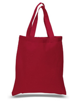 "12 Pack Wholesale Red Color Cotton Tote Bags in Bulk (15"" x 16"")"