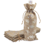Burlap Jute Wine Bags, Christmas Gifts, Silver Color, 12 Pack
