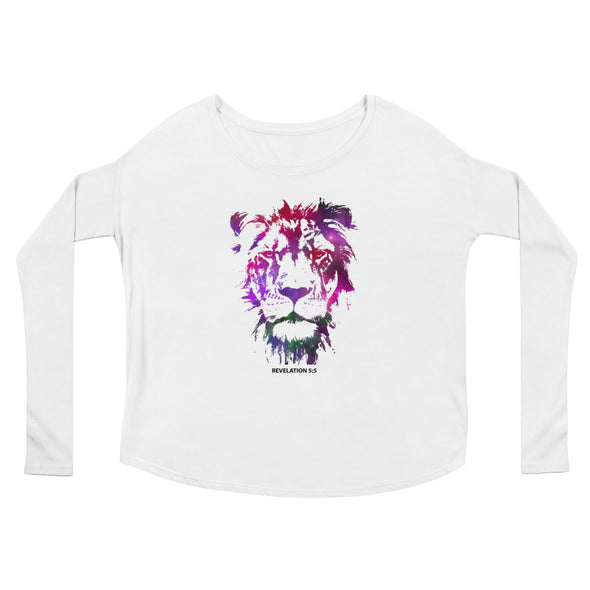 Galaxy Lion of Judah - Ladies' Flowy Long Sleeve Tee